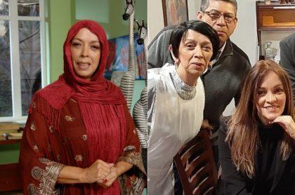 Lucero Gómez, actriz, con su colega Alexandra Restrepo y el humorista Heriberto Sandoval.