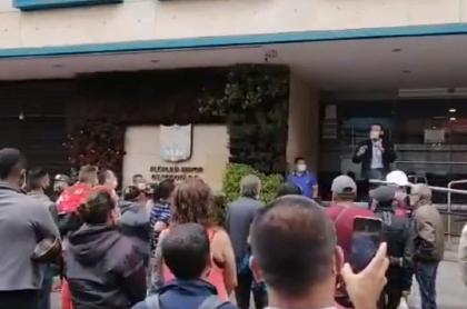 Protesta de comerciantes en cuarentena en Bogotá