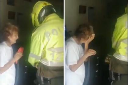 Abuelita recibiendo mercado de policías