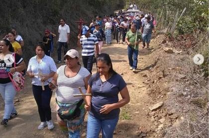 Procesión del viacrucis en Liborina, Antioquia