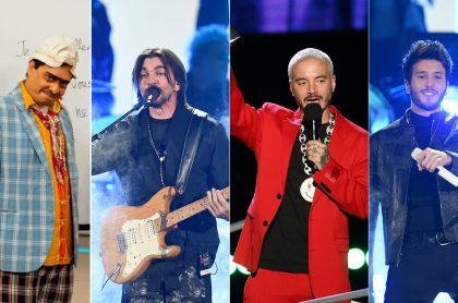 Suso, humorista, y los cantantes Juanes, J Balvin y Sebastián Yatra.