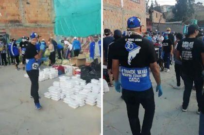 Barristas de Millonarios regalando miles de mercados