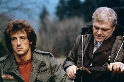 Sylvester Stallone y Brian Dennehy en el set de 'Rambo'