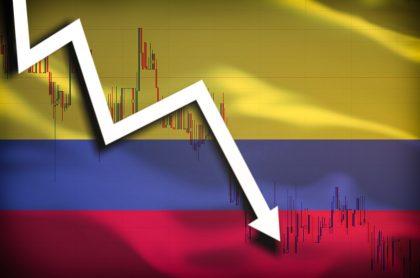 Bandera Colombia con indicador cayendo