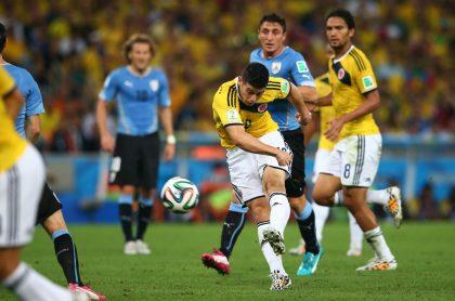 James Rodríguez en el partido contra Uruguay del Mundial Brasil 2014.