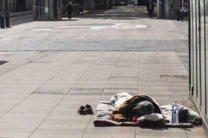Habitante de calle en Barcelona, España