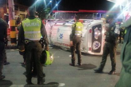 Ambulancia con marihuana y accidentada en Cali