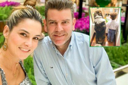 Catalina Gómez, presentadora; su esposo Juan Esteban Sampedro, gerente de entretenimiento de Caracol TV; su hijo Cristóbal; y su perro Canuto.