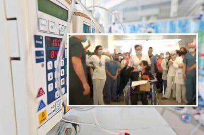 Clínica despide a sobreviviente de trasplante de pulmón.