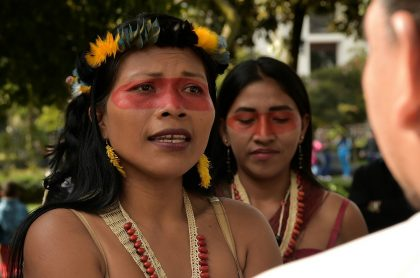 Mujeres de la etnia indígena Waorani protestan en Quito, en junio de 2019.