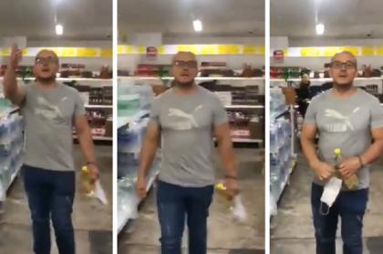 Hombre se hace viral por  su reacción cuando le exigen usar tapabocas.