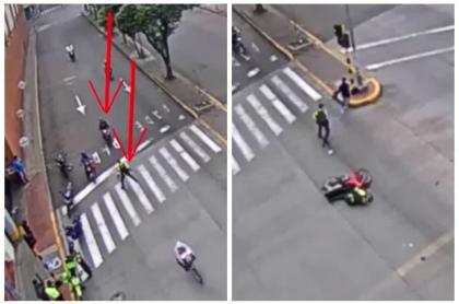 Motociclista atropella a policía.