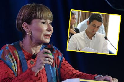 Ministra del Interior, Alicia Arango, y Jorge Tovar Vélez, hijo del exparamilitar 'Jorge 40'