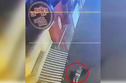 Ladrón cae al piso.