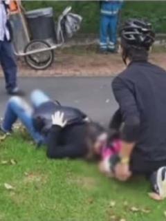 Accidente de mujer en ciclorruta en Bogotá