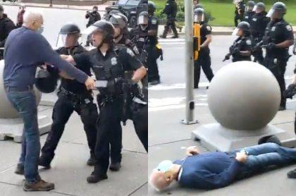 Policías agreden a anciano