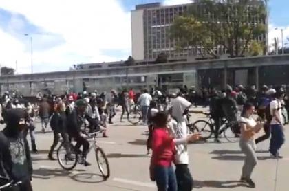 Protesta en la calle 26 de Bogotá