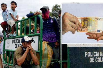 Venezolanos varados en frontera Cúcuta (Colombia) - San Antonio del Táchira (Venezuela) Billete de 50 euros.