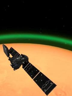 Aurora boreal en Marte.