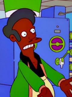 Apu y Marge Simpson