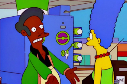 Apu y Marge Simpson