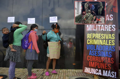 Indígenas protestan en contra de militares que abusaron de nina de 12 años del pueblo Embera Chamí.