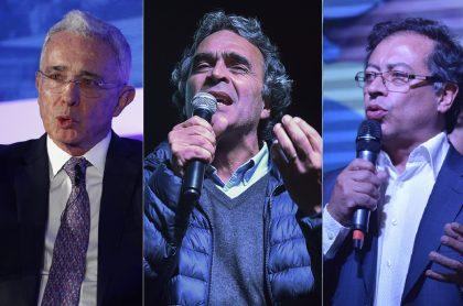 Álvaro Uribe, Sergio Fajardo y Gustavo Petro, políticos.