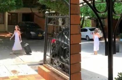 Mujer que le grita a sus vecinos que son unos hijueputas