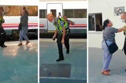 Mujer pega a vigilante de tren