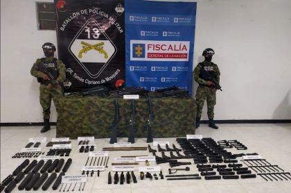 Arsenal de armas incautado en Bogotá