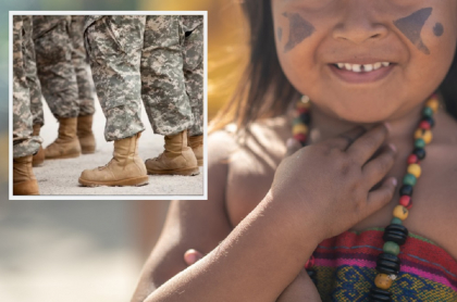Imágenes de referencia: indígena de la etnia Tupi guaraní (Brasil) / militares en formación