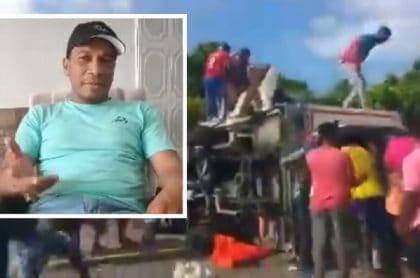 Volcamiento de camión con pescado en carretera Cartagena - Barranquilla / Conductor de camión Edwin García