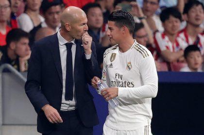 Zinedine Zidane, técnico, y James Rodríguez, futbolista.
