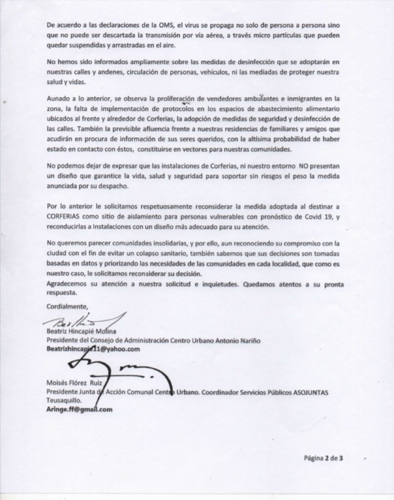 Carta publicada por RCN Radio.