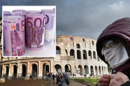 Roma, Italia, en medio de la pandemia del coronavirus / Imagen ilustrativa de euros en billetes.