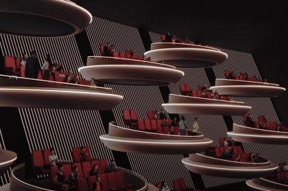 'Galáctico' diseño de sala de cine con distanciamiento recuerda el senado de 'Star Wars'