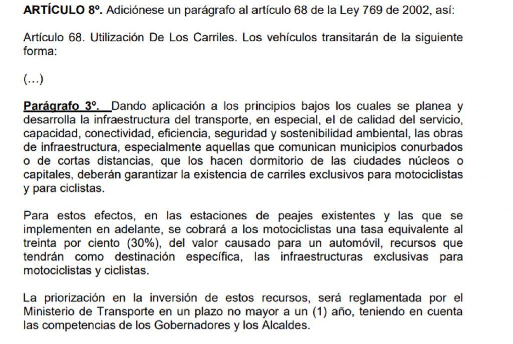 Proyecto de ley sobre seguridad vial.
