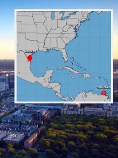 Dallas, Texas / Fragmento de mapa de Estados Unidos y Centroamérica.