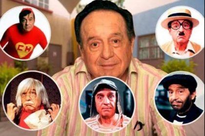 Roberto Gómez Bolaños, rodeado de sus personajes de 'Chespirito'.