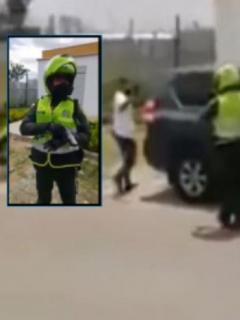 Discusión de policías y excombatiente escolta de UNP