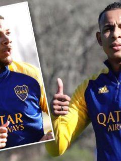 Frank Fabra y Sebastián Villa en entrenamientos de Boca Juniors, equipo que tendría brote de coronavirus en su plantel