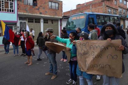 Protestas en Ciudad Bolívar por ayudas de la Alcaldía de Bogotá
