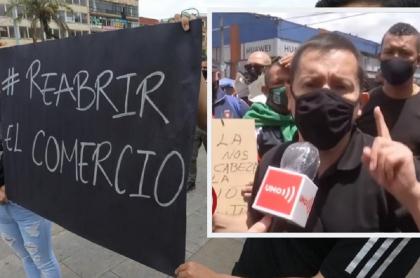 Protestas de comerciantes en San Victorino, Bogotá / Albeiro Camacho, presidente de la Federación de San Andresitos de Colombia.