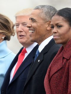 Donald Trump y Barack y Michelle Obama