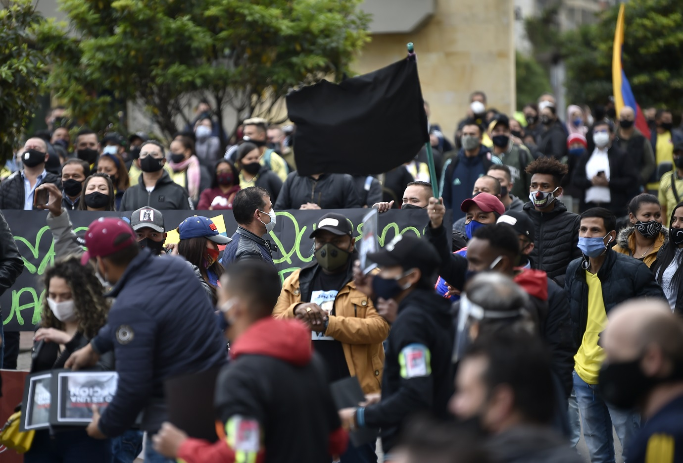 Avanzaron desde el sur de la ciudad hasta el centro y después continuaron por la avenida Caracas hacia el norte de Bogotá. / AFP
