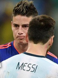 Valenciano pide a James como reemplazo de Messi en el Barcelona. En la foto, ambos jugadores en la última Copa América.