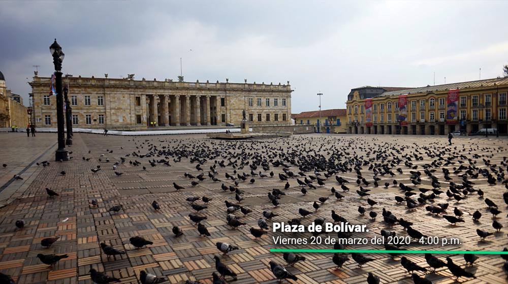 Plaza de Bolívar durante el 20 de marzo, primer día del simulacro de aislamiento en Bogotá.