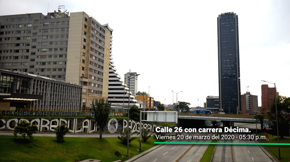 Calle 26 con carrera Décima durante el primer día del simulacro de aislamiento en Bogotá.