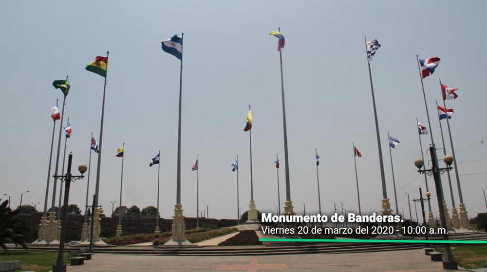 Monumento de Banderas en Kennedy el primer día del simulacro de aislamiento en Bogotá.