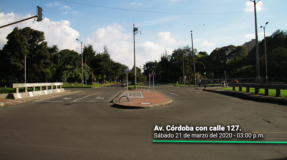 Avenida Córdoba con Calle 127 durante el segundo día del simulacro de aislamiento en Bogotá